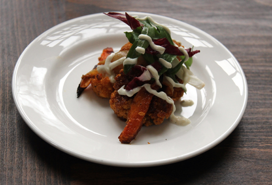 Suzanne Goin's curried cauliflower with roasted carrots and tahini yogurt.