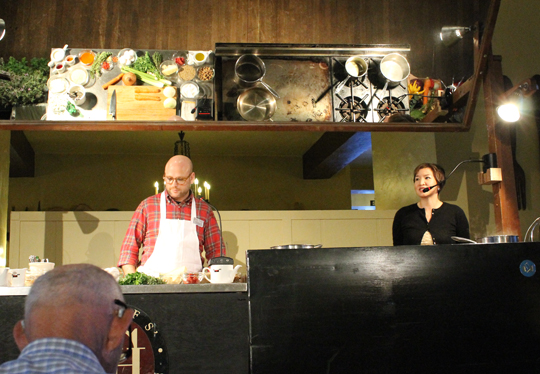 Yours truly on the stage with Chef Daniel Holzman of The Meatball Shop.