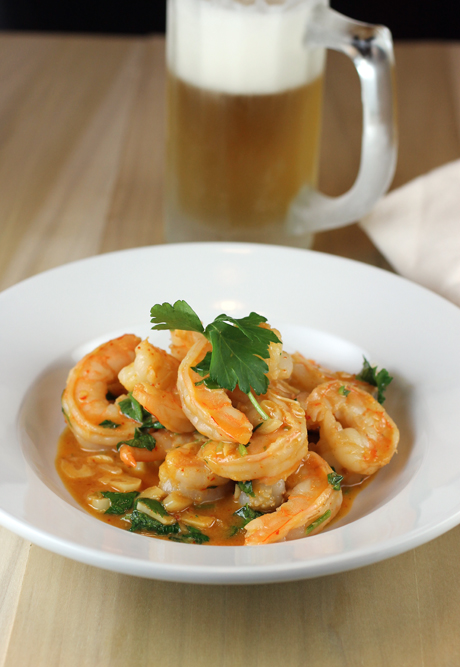 Pour yourself a cold beer to enjoy this easy shrimp dish heady with your favorite bar food-flavors.