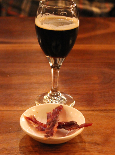 House-made beef jerky and a beer apertif to start the evening.