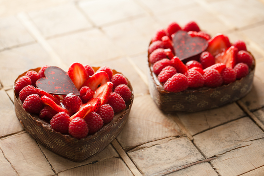 Chocolate hearts filled with raspberries and strawberries. (Photo courtesy of La Boulange)