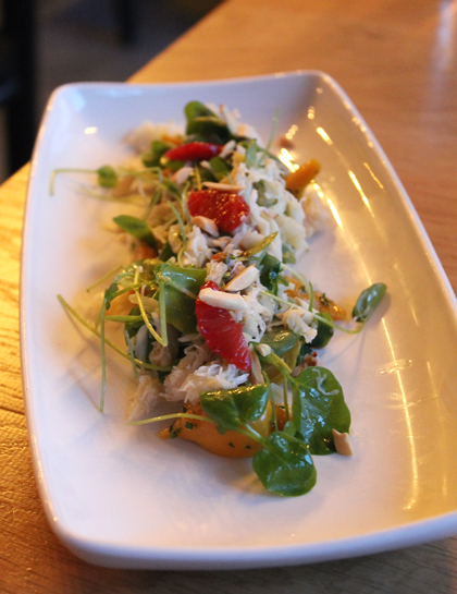 Sweet crab meat and baby beets with peppery watercress.