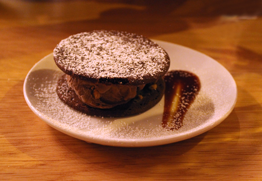 Chocolate-peanut butter ice cream sandwich.