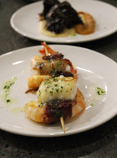 Shrimp and monkfish skewer.