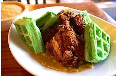 Green waffles? You bet. (Photo courtesy of Oryza Bistro Asiana)