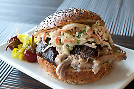 Pulled pork sandwich with S&S sauce and spices. (Photo by Albert Law)