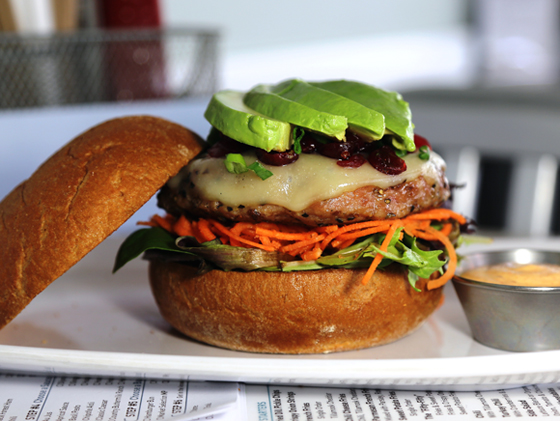 Cranberry-Avocado Turkey Burger on a gluten-free bun at The Counter. (Photo courtesy of the restaurant)