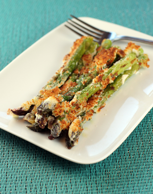 Asparagus spears get broiled with mayo and grated cheese.
