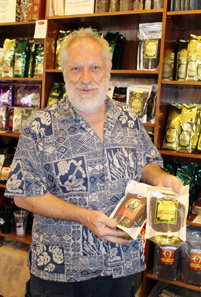 Jeff Ferguson gives a lesson in coffee at the Maui Grown Coffee Company Store.