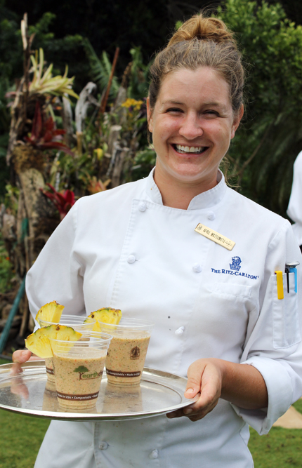Sous Chef April Matsumoto delivers fresh-made garden smoothies at the Ritz-Carlton Kapalua.