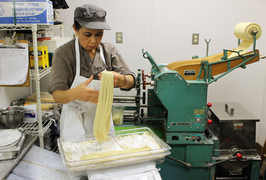 """Auntie,'' who is a one-woman noodle factory."