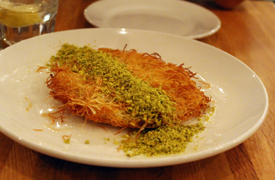 Kunefe with its crunchy, golden, shredded phyllo exterior.