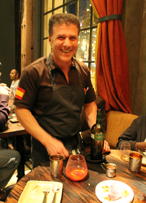 Michael Chiarello welcoming guests at his new Coqueta.