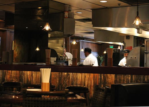 The bustling open kitchen.