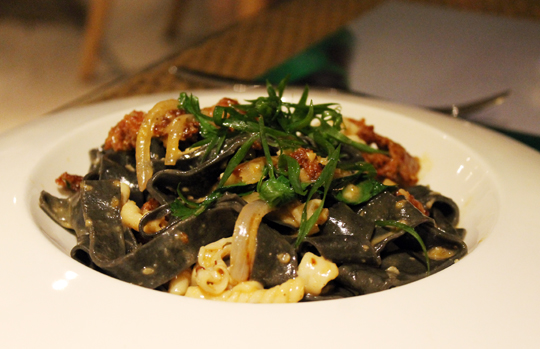 Squid-ink pasta.