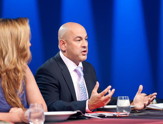 "Simon Majumdar on the set of ""The Next Iron Chef.'' (Photo courtesy of the Food Network)"