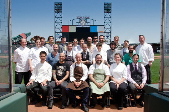 "How many ""Rising Star Chefs'' can you pick out here? Not pictured: Colby Barr and Ryan O'Donovan of Verve, Ryan Farr of 4505 Meats and Evan and Sarah Rich of Rich Table. (Photo courtesy Antoinette Bruno, StarChefs.com)"