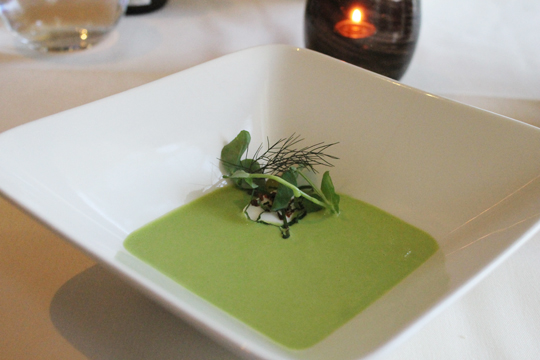 Chilled pea soup.