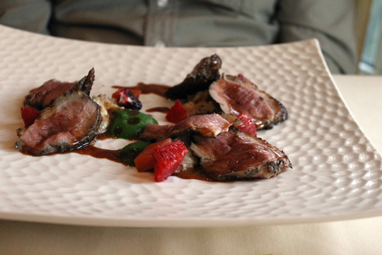 Duck with blood orange.