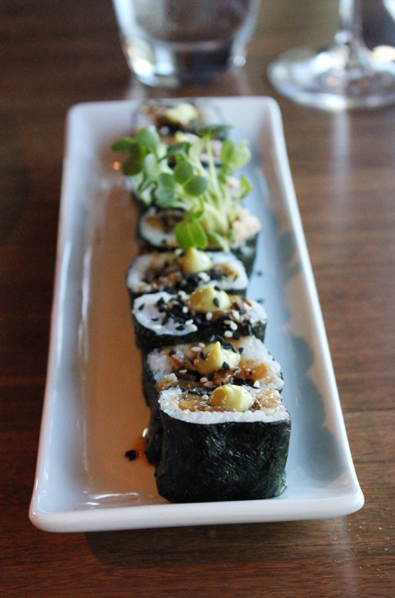 Glazed pork belly makes an appearance in a maki roll at Justin's in Santa Clara.