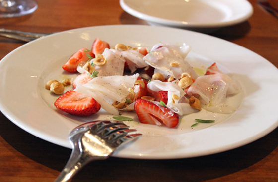 Strawberries with -- what else -- lardo. At Incanto.