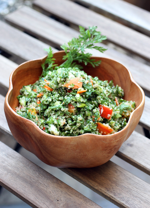 A delightful tabbouleh made with the part of the carrot most of us just throw away.