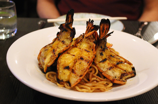 Get a load of the prawns on this dish of garlic noodles.