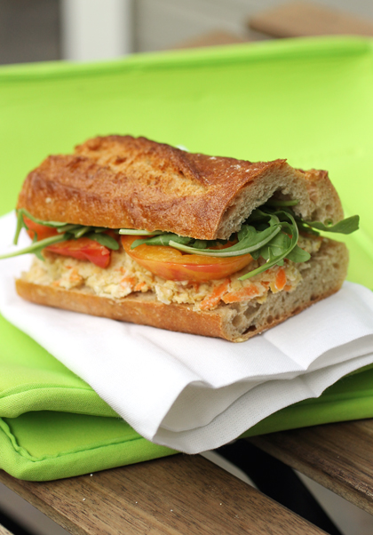 Creamy goat cheese, chickpeas and a dash of cumin give this sandwich real flair.