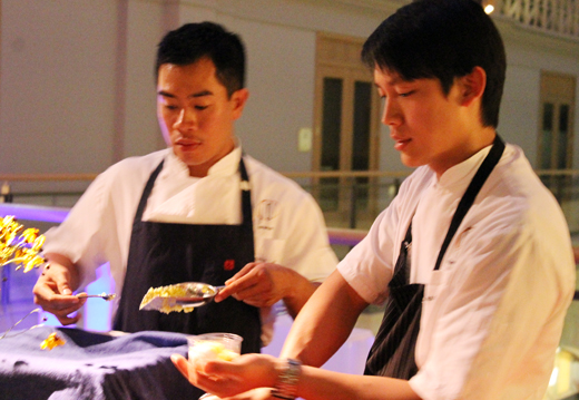 Francis Ang (right), pastry chef of the Fifth Floor, putting the finishing touches on a black tea cremeux with calamansi ice and menthol espuma...