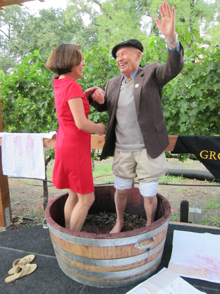 Mike Grgich and a friend stomp away at his winery. (Photo courtesy of Ken Morris)