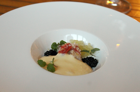 Lobster with caviar and macadamias.