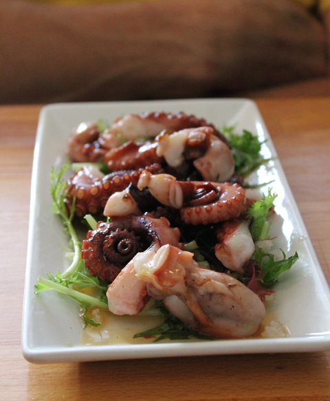 Tender octopus served with seaweed and mizuna.