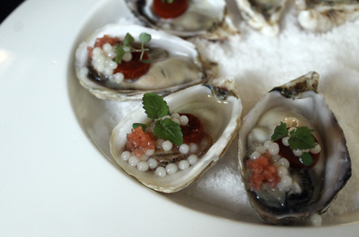 Oysters with horseradish pearls.