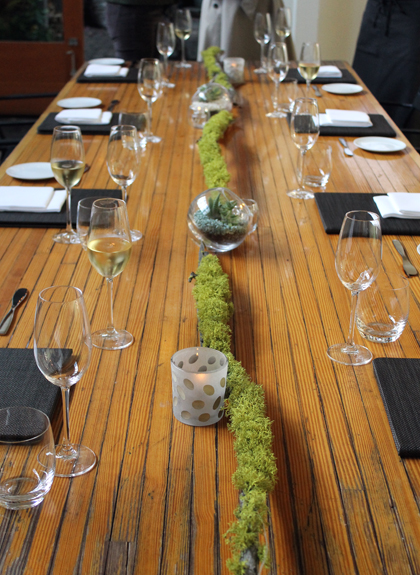 The table is set at the Stable Cafe, the original location of Saison restaurant.
