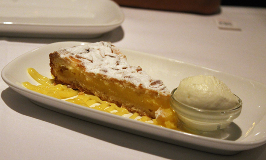 A slice of lemon tart.