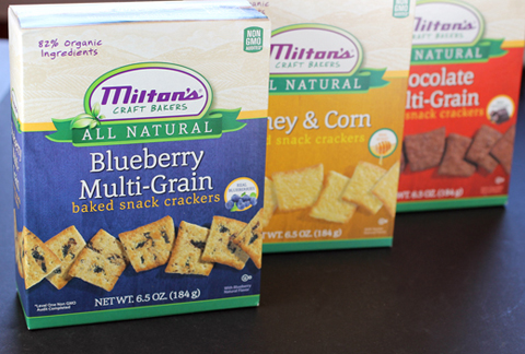 Three of the five new flavors of crackers. (Photo by Carolyn Jung)