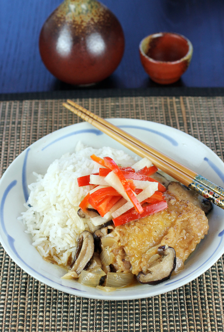 Miso-smothered chicken with tangy, crunchy jicama pickles.