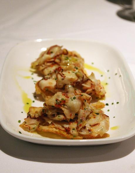 Octopus crostini.
