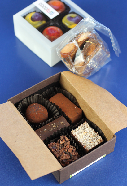 Front to back: Neo Cocoa truffles, Toffee Talk toffee, and Cocotutti truffles.