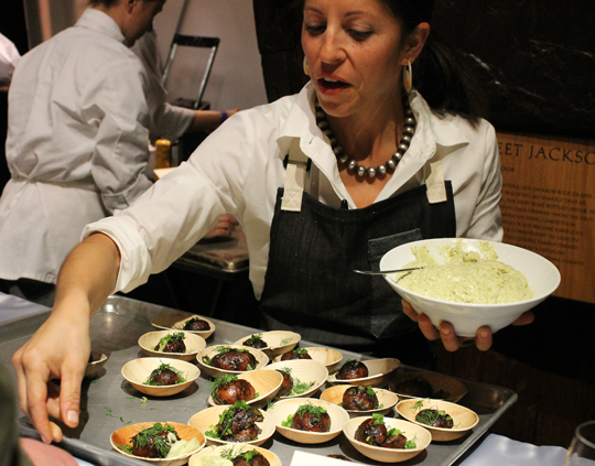 Chef Cortney Burns of Bar Tartine dishing up incedible smoked potatoes with black garlic vinaigrette and fermented ramp mayo.
