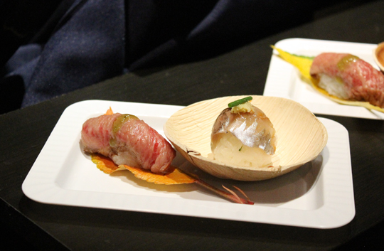 Exquisite Japanese mackerel and miso-marinated seared Japanese Wagyu sushi by Chef Andy Matsuda.