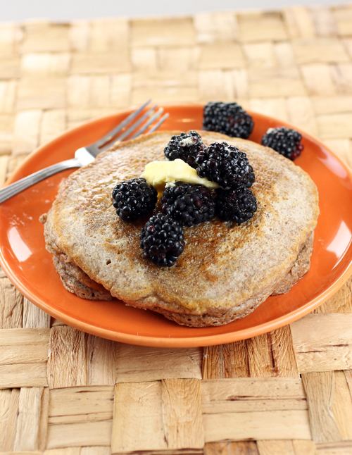 Pancakes made with organic whole grains.