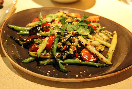 Pole beans with Thai bird chilies.