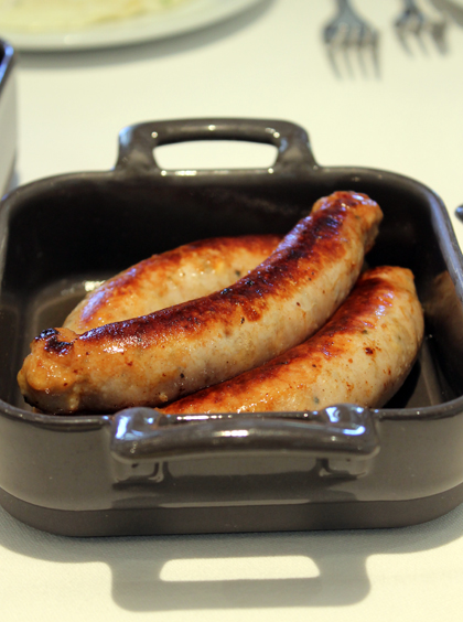 Chicken sausages.