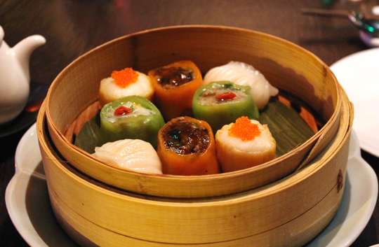 A steamer basket of dim sum.