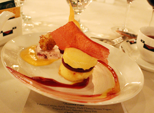 """Aurora Flair'' dessert by the pastry chef of the Ahwahnee."