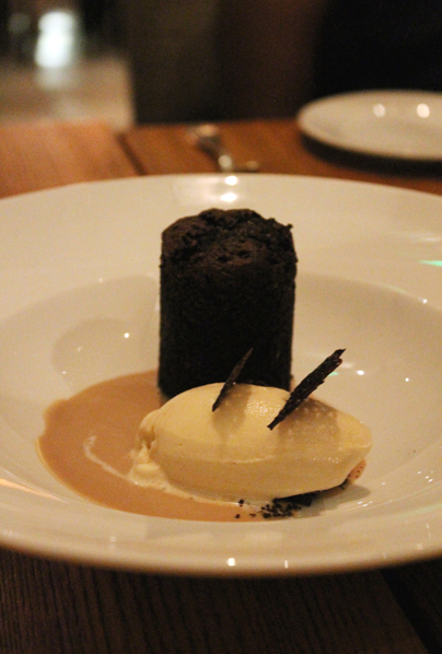 Fudgy chocolate cake with peanut butter sherbet.