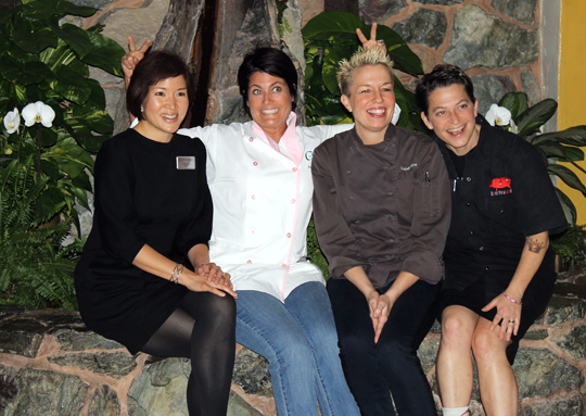 (L to R): Yours truly, Chef Ariane Duarte, Chef Elizabeth Falkner, and Chef Duskie Estes.