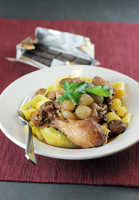 Coq au vin -- with the surprising addition of chocolate. Perfect for Valentine's Day.