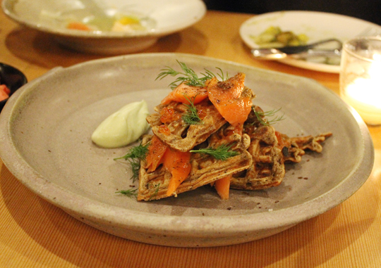 Smoked trout with  buckwheat waffle.